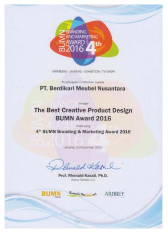 The Best Creative Product Design BUMN Award 2016